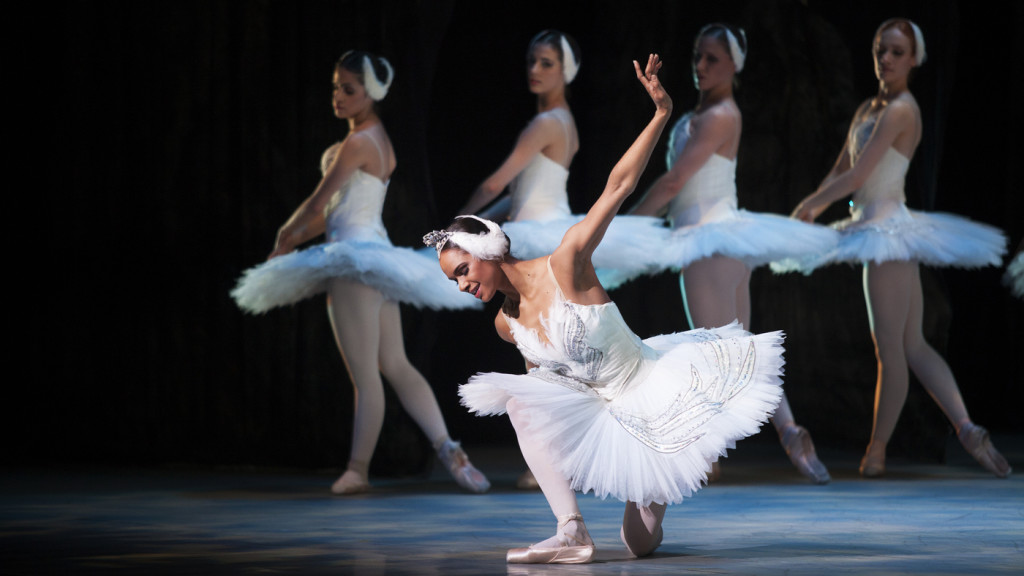 Misty Copeland (center) performs in the Washington Ballet production of Swan Lake in April.